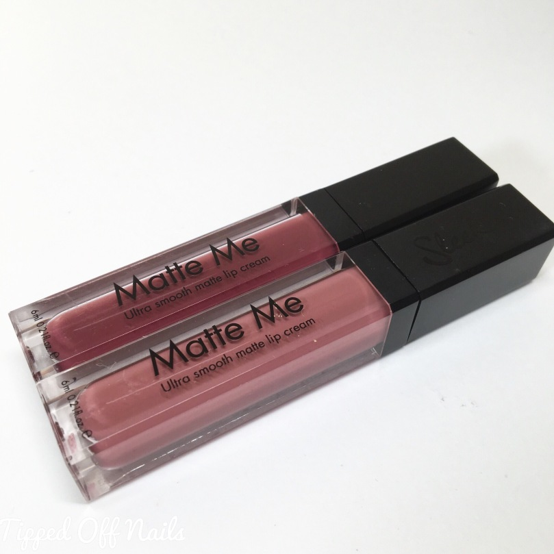 Sleek Matte Me lip cream swatches Shabby Chic & Velvet Slipper