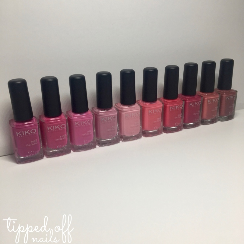 Kiko Milano Nail Lacquer Swatches Part six - Pinks