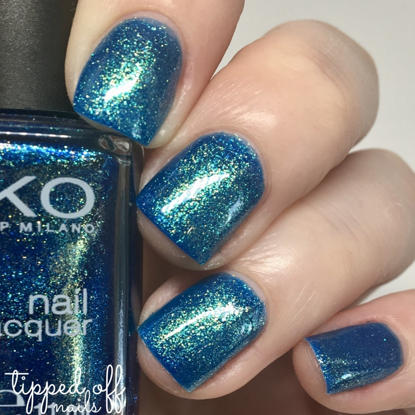 Kiko Milano Nail Lacquer Swatch 530 Pearly Blue Peacock