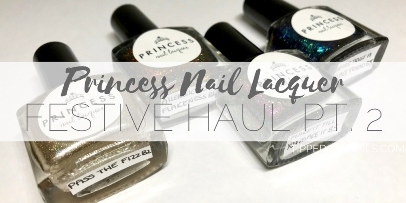 Princess Nail Lacquer festive Haul - nothing but flakes duo, allergic to flakeness and pass the fizz swatches