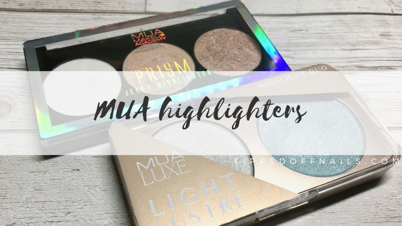 New MUA Light lustre highlight duo and Prism jelly highlight light spark swatches