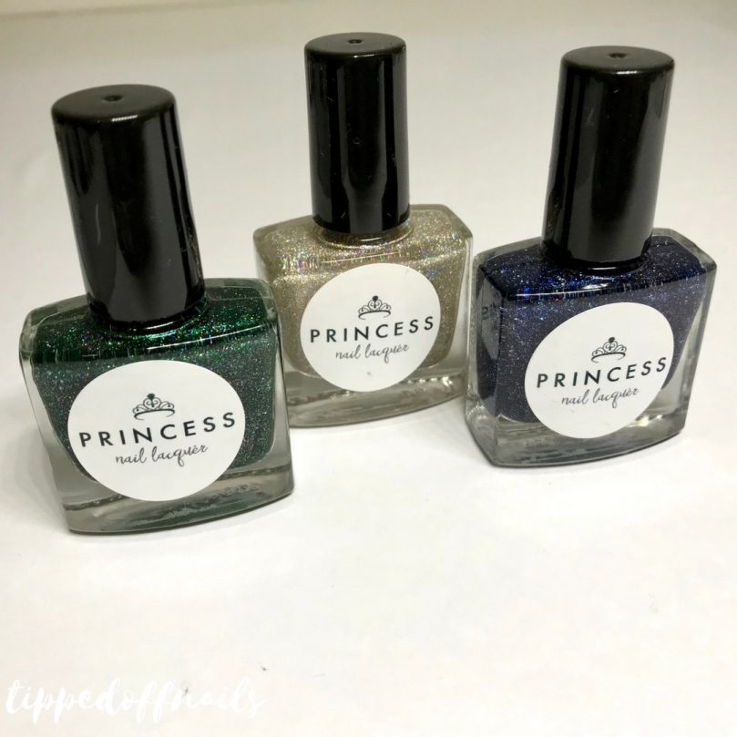 Princess Nail lacquer Holo-scream trio swatches