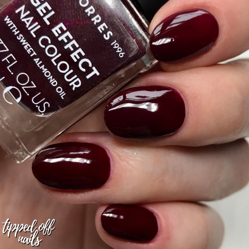 korres gel effect sweet almond nail lacquer - burgundy red swatch