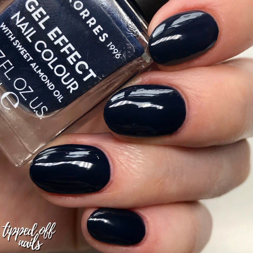 korres gel effect sweet almond nail lacquer - steel blue swatch