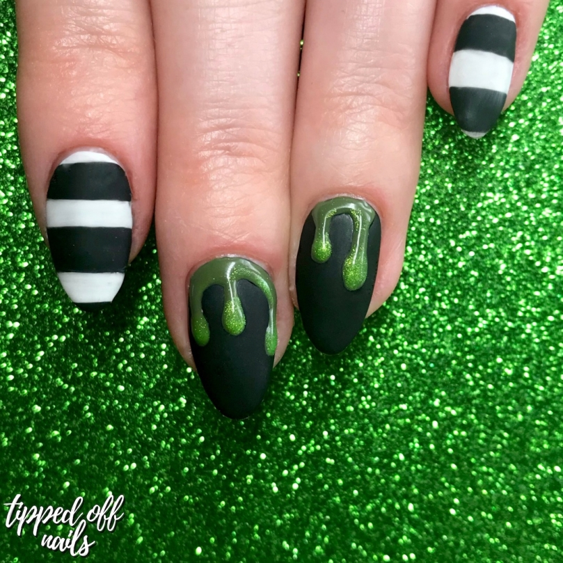Halloween Beetlejuice Nail Art