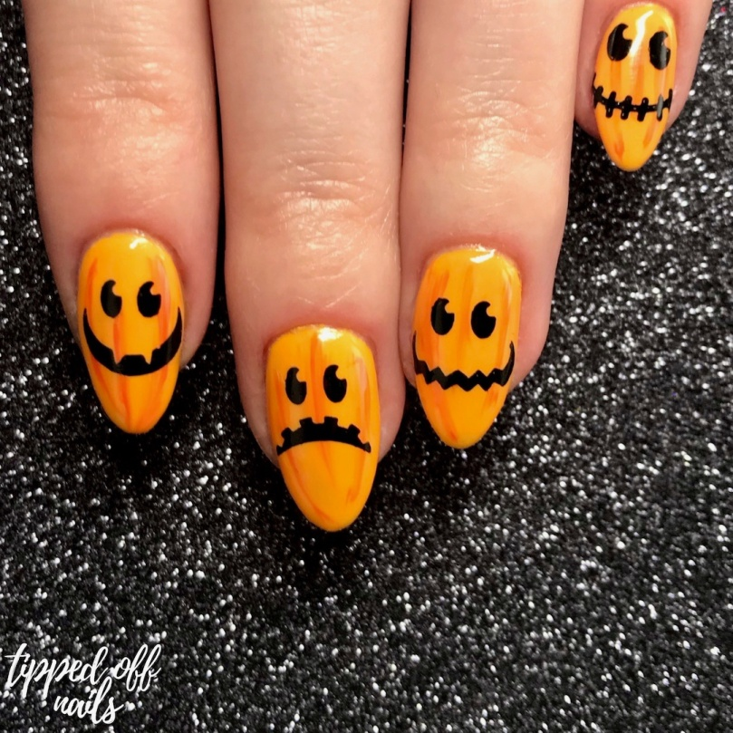 Halloween Fun Pumpkin Nail Art