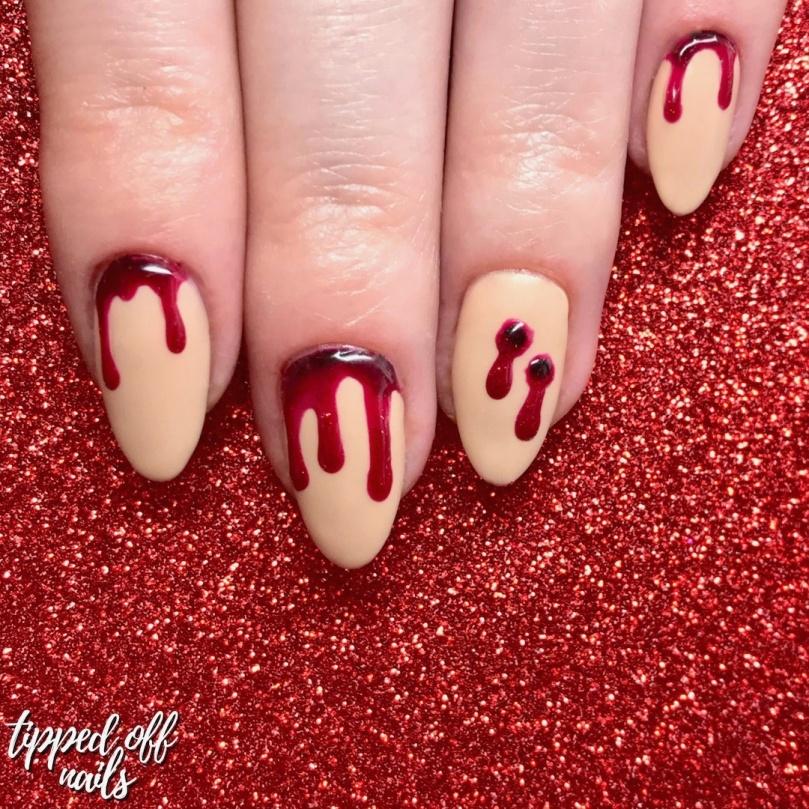 Halloween Vampire Bite Nail Art