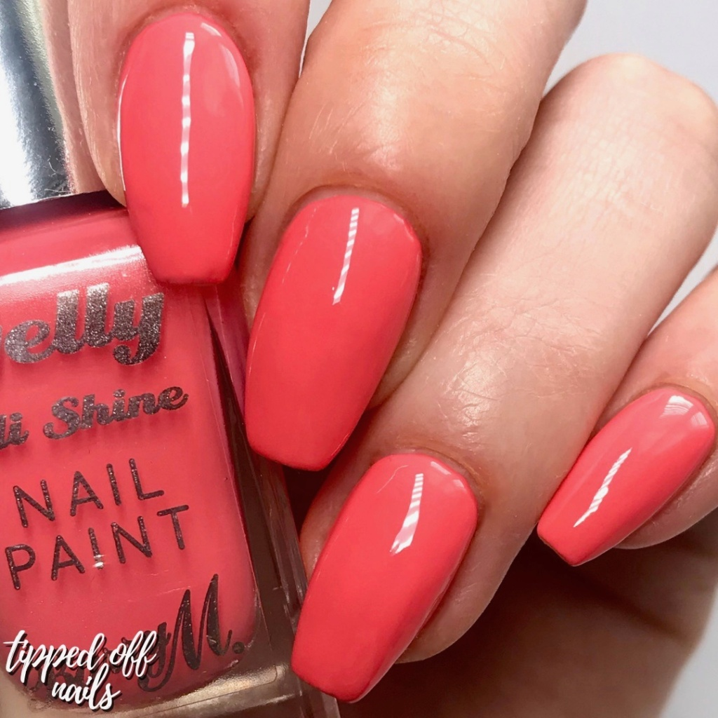Barry M summer 2019 Gelly Hi Shine Pink Grapefruit Swatch